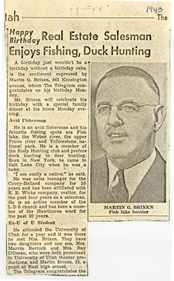 Newspaper article about Martin Brixen's 51st birthday in 1943.
